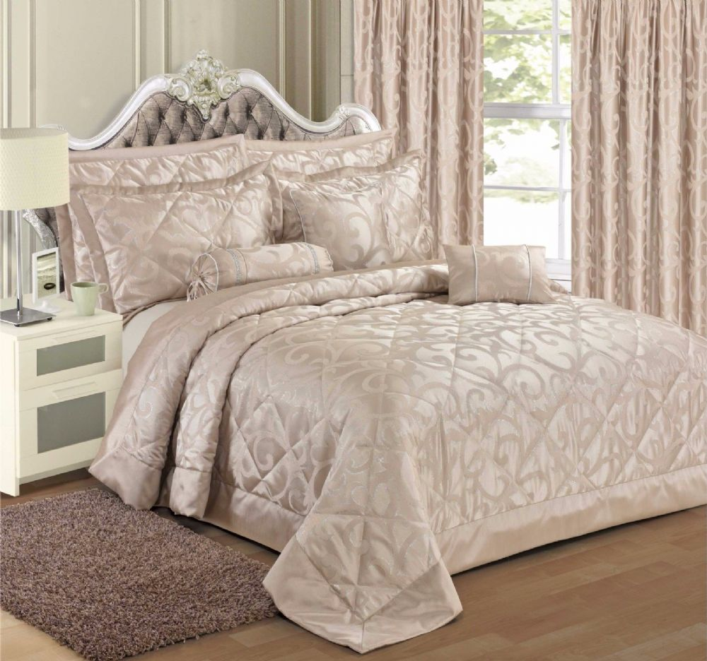 Champagne Colour Stylish Floral Scroll Jacquard Luxury Embellished Designer Quilted Bedspread